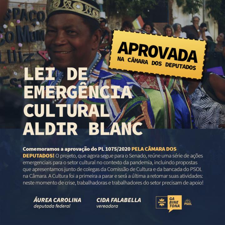 Vitória da arte e da cultura brasileira: Aprovada na Câmara dos Deputados a Lei de Emergência Cultural Aldir Blanc