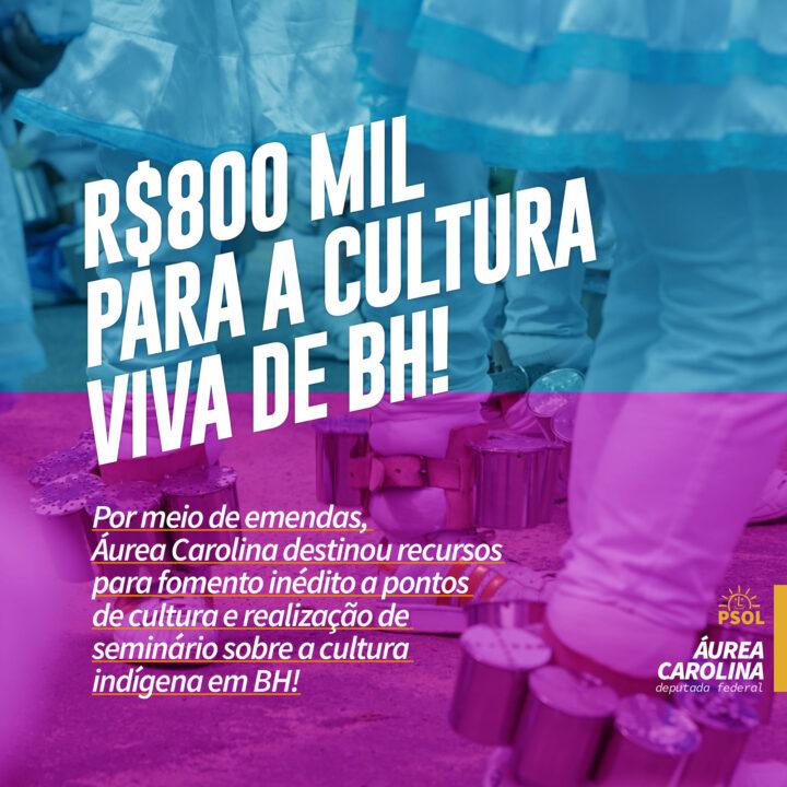 Áurea Carolina destina R$800 mil para a Cultura Viva em BH