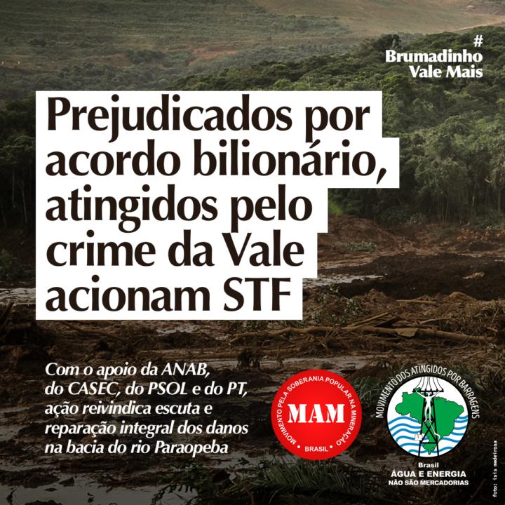 Prejudicados por acordo bilionário, atingidos pelo crime da Vale em Brumadinho acionam STF